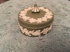 Wedgwood Sage Green Jasperware Lidded Round Trinket Box