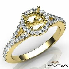 Diamond Engagement 14k Yellow Gold U Cut Halo Prong Round Semi Mount Ring 0.5Ct