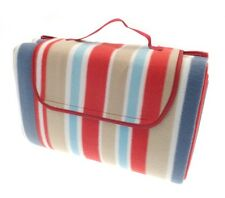 Country Club Beach Picnic Blanket Rug 150x200cm Red Blue Stripe Waterproof New