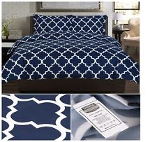 Full Comforter Bedding Sheets Sets Queen Size Navy Cover Duvet + 2 Pillowcases