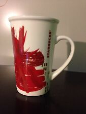 Starbucks Red Gold Abstract Floral 2014 Holiday 16 oz. Tall Latte Mug