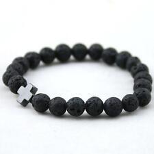 Mens Hematite Cross-shaped Lava Stone Beads Stretchable Charming Bracelet