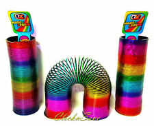 2 x 15cm Large Rainbow Magic Spring Coil Slinky Fun Toy Stretching 10m Bouncing