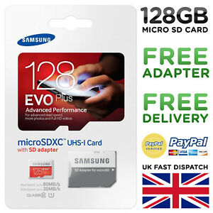 Samsung 128GB Micro SD Card Storage SDXC SDHC Memory Card Class 10 with Adapter