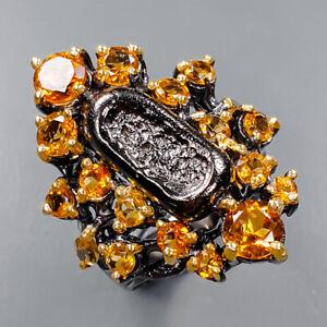 Handmade SET Citrine Ring Silver 925 Sterling  Size 7.75 /R160179