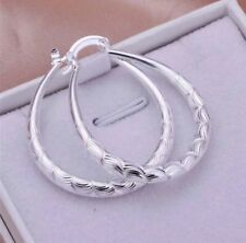 Women's Fashion Jewelry 925 Silver Plated Elliptical Hoop Earrings 26-1