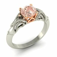 White Gold Solitaire Engagement Ring Certified 0.97 Cts Natural Morganite 14K