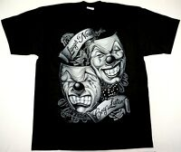 COMEDY & TRAGEDY T-shirt Happy Sad Theater Clown Faces Tee Men's LARGE Black New