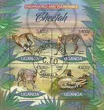 Timbres Animaux Félins Guépards Ouganda 2450/3 o de 2012 lot 14115 - cote : 17 €
