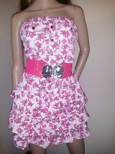 Womens Pink Floral Ruffle Strapless Belted  Babydoll Dress , Small