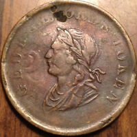 1834 LOWER CANADA COLONIAL IRELAND HALF PENNY TOKEN GEORGE ORDS SCARCE COIN!