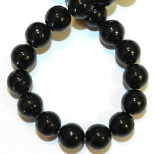 GR1314f Black 10mm Round Riverstone Coral Fossil Gemstone Beads 16""