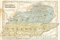 Kentucky and Tennessee Vintage 1855 Antique Style Map Poster 18x12 inch