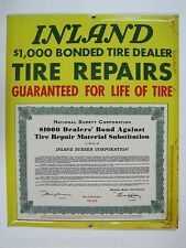Old INLAND TIRE REPAIRS SIGN bevel edge gas oil auto advertising $1k bonded dlr