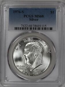 1976 S EISENHOWER IKE DOLLAR $1 PCGS CERTIFIED MS 68 MINT STATE 40% SILVER (115)