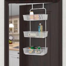3 Tier Mesh Basket Hanging Storage Unit Over Door Pantry Rack Organizer White
