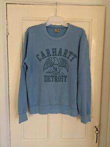 Carhartt Men's Blue Spell Out Sweatshirt Jumper Size Medium