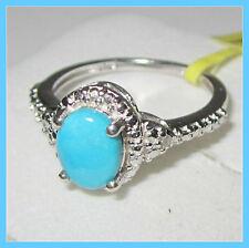 Sleeping Beauty Turquoise / Diamond Ring  Platinum / Sterling Silver 925 sz 6 8