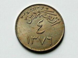 Saudi Arabia 1376 (1957) 4 GHIRSH (Qirsh) Coin with Uneven Toned-Lustre
