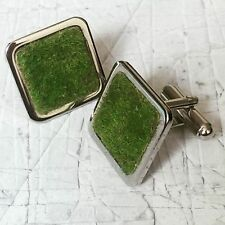 Unique 'THE PERFECT LAWN' CUFFLINKS chrome GRASS gardener GARDEN handmade PITCH