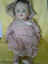 """Vintage 1940s Composition Cloth Baby Girl Character Doll 20"""" Tin Eyes"""