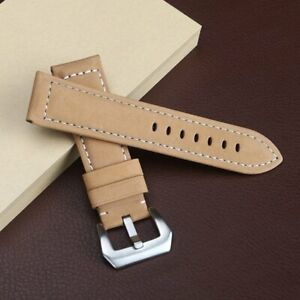 Mens Genuine Leather Watch Band Strap Wristwatch Strap Pin Buckle  22 24 26mm