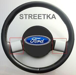 FORD STREETKA STEERING WHEEL SPOKE TRIMS (2003-05)- SILVER CARBON FIBRE EFFECT