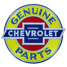 "CHEVY GM CHEVROLET GENUINE PARTS 19"" X 17"" EMBOSSED METAL SIGN GARAGE DECOR"