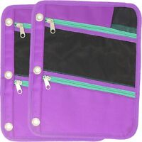 Pencil Pouch, Fits 3 Ring Binder, Nylon Fabric Case with 3 Zipper Pockets 2-Pack