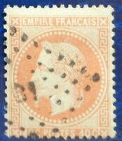 France oblitéré, n°31, 40c orange Napoléon III, empire français, dentelé, 1868