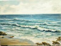"Art ,16""/12"" oil painting, ocean side panoramic view, seascape, landscape"