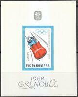 Romania 1967 MNH Mi Block 64 Sc 1958 Winter Olympic Games, Grenoble, France **