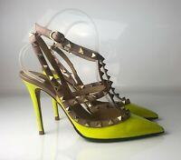 Valentino Garavani Rockstud Studded Neon Green Yellow Patent Pumps Euro 38