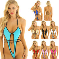 Women's Sexy Micro Mini Bikini Set Halter Neck High Cut Thongs Leotard Swimsuit