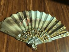 Antique vintage hand-painted mother-of-pearl fan,double-sided,  signed