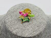 Vintage Rhinestone Butterfly Enamel Brooch Pendant Pin Gold Tone Lapel