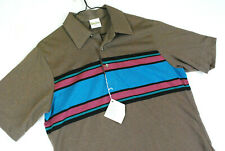Vintage 80s Retro Short Sleeve Striped Polo Shirt Brown Pink Usa Golf Mens M