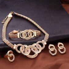 Fashion Jewelry Necklace Earrings Ring Bracelet Four Piece Set Rose Gold Plated