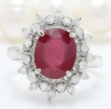 3.85 Carat Natural Red Ruby and Diamonds in 14K Solid White Gold Ring