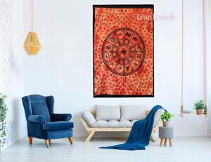 Indian Orange Zodiac Mandala Wall Hanging Poster Tapestry Cotton Bohemian Throw