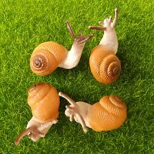 4Pcs Cute Small Snail Lifelike Fairy Garden Terrarium Decor Figurine Animal Toys