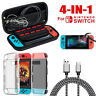 For Nintendo Switch Hard Carrying Case Bag+Shell Cover+Charging Cable+Protector