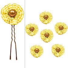 6 épingles pics cheveux chignon mariage mariée fleur rétro vichy perle jaune