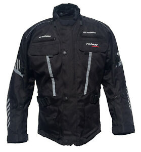 Roleff Racewear lange Motorradjacke in Schwarz mit Protektoren, wasserdicht