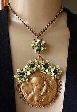 Vintage Necklace Nouveau Bird Goddess Pendant W/ Green Rhinestone Enamel Flowers