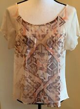 FANG Short Sleeve Blouse Size M Tan Brown Orange Abstract Geometric Design