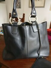 Sequoia Leather Black Bag With Clutch
