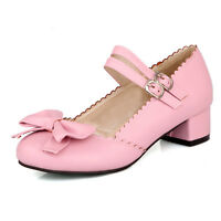 Lolita Sweet Colors Low Heel Fashion Buckle Strap Pumps Bowknot Women Shoes Plus