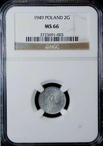 Poland 2 Grosze 1949 NGC MS 66 UNC Aluminum