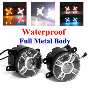 2xFront Car LED Projector Round Spot Fog Lamps Light Turn Signal High Clear Lens